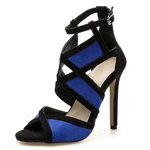 Color Block Blue and Black High Heels
